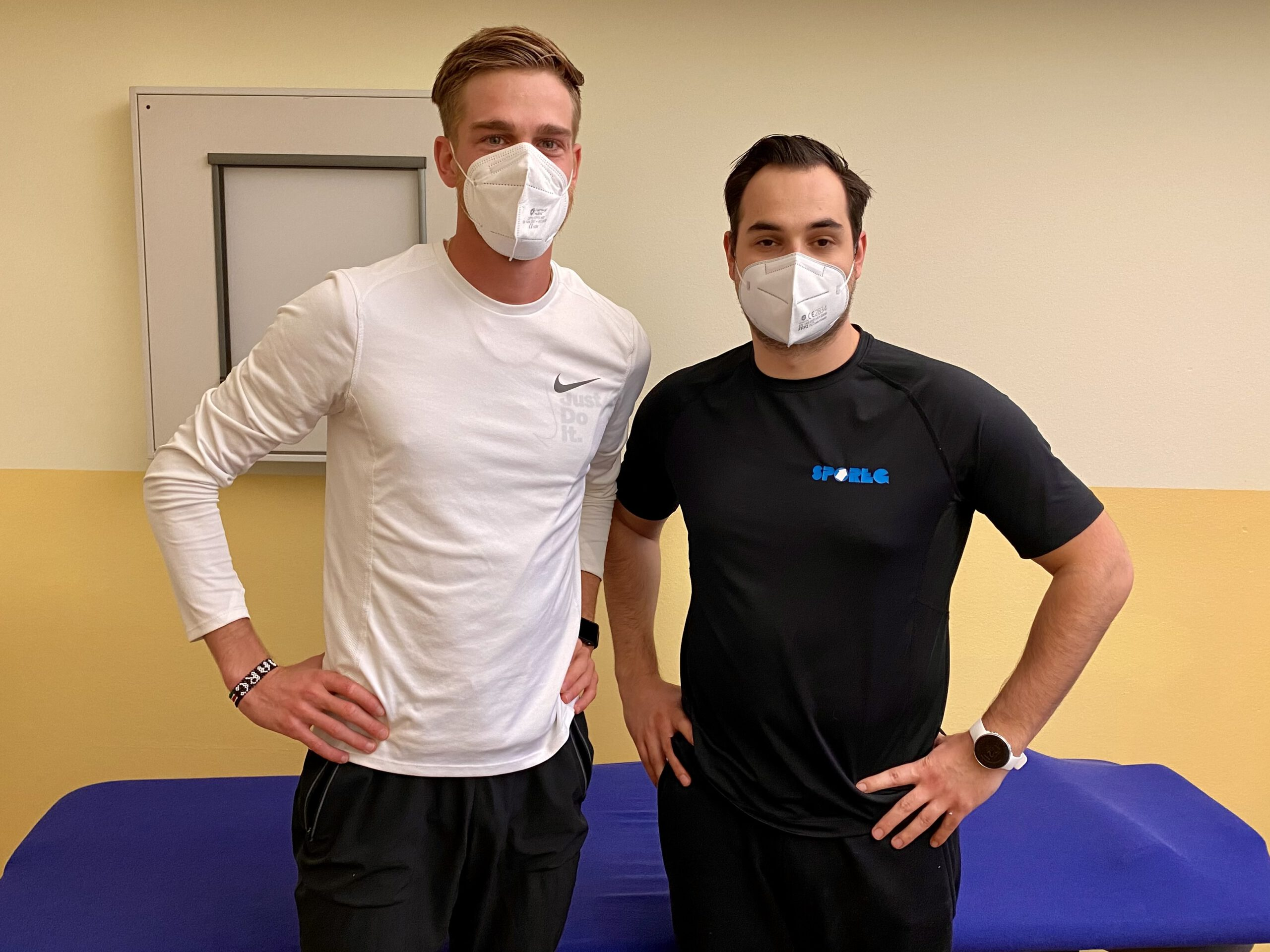 Marc Reuther mit Physiotherapeut Sebastian Gilles
